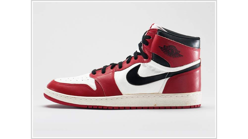 f1842ec533d Nike Air Jordan 1, 1985 Nike Archives. Ron Wood. Courtesy American  Federation of Arts/ Bata Shoe Museum. ""