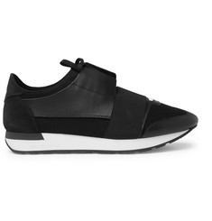 Balenciaga Race Runner Leather, Neoprene, Suede and Mesh Sneakers