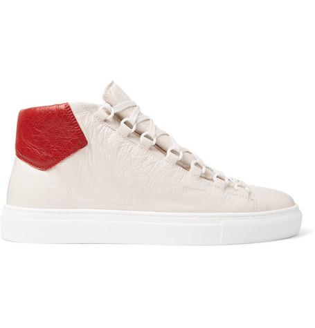 5e0e82687244 Balenciaga Arena Creased-Leather High-Top Sneakers - Off-White ...