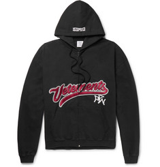 Vetements Embroidered Cotton-Jersey Zip-Up Hoodie
