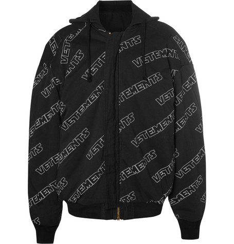 Oversized Reversible Padded Cotton Bomber Jacket - Black