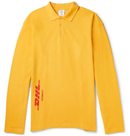 Vetements + Dhl Oversized AppliquÉd Cotton-piquÉ Polo Shirt - Yellow