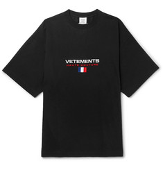 Vetements - Oversized Embroidered Cotton-Jersey T-Shirt