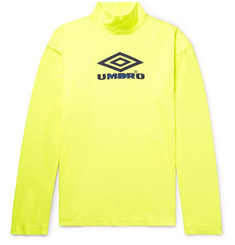 Vetements + Umbro Oversized Printed Cotton-Jersey Mock-Neck T-Shirt