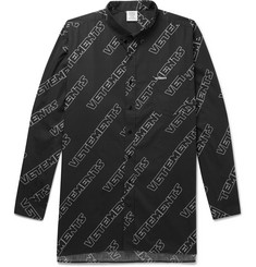 Vetements Oversized Button-Down Collar Printed Cotton-Poplin Shirt