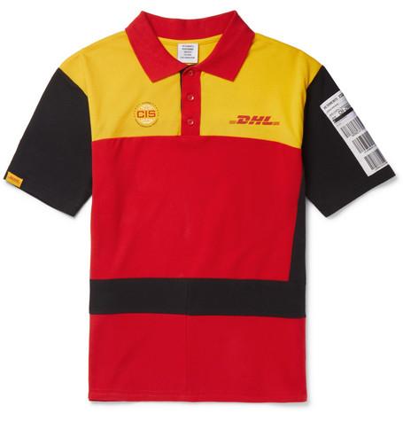 78d1cdf65a60 Vetements Dhl Slim-Fit AppliquÉD Cotton-PiquÉ Polo Shirt In Red ...
