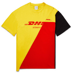 Vetements + DHL Printed Cotton-Jersey and Piqué T-Shirt