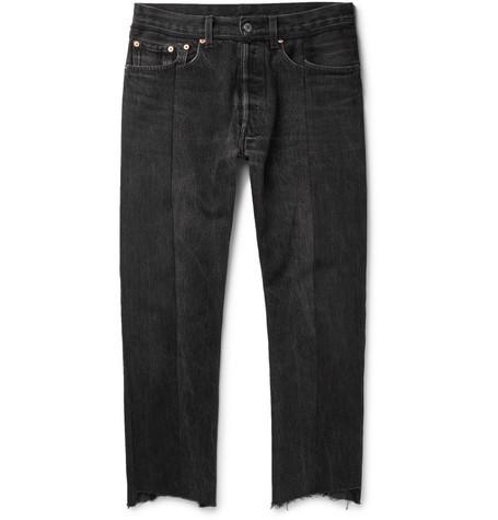 Vetements + Levi's Slim-fit Panelled Denim Jeans - Black