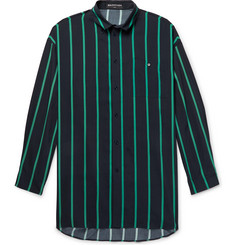 Balenciaga Oversized Button-Down Collar Striped Woven Shirt