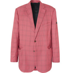 Balenciaga Red Checked Virgin Wool and Silk-Blend Blazer