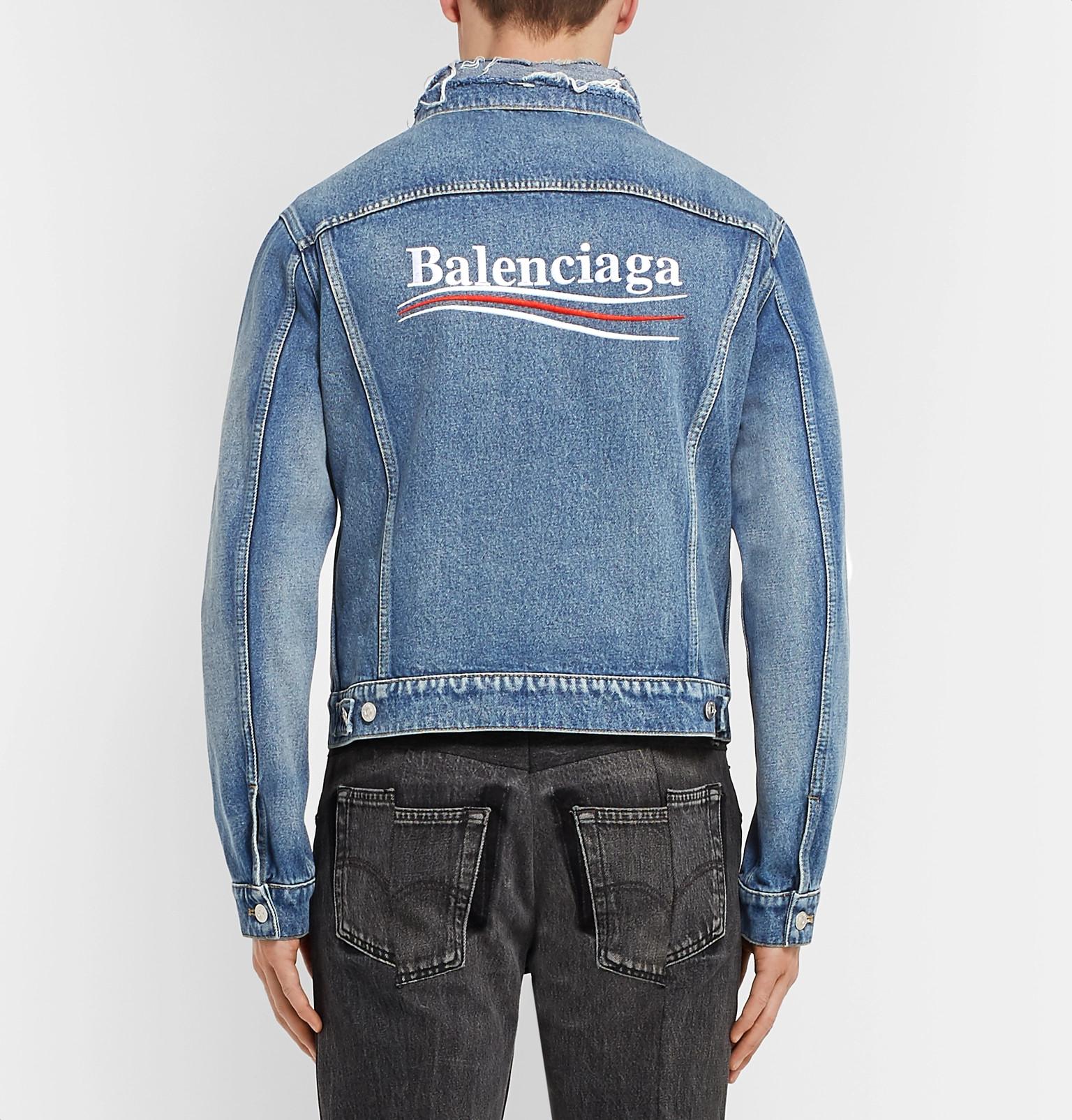 e1c77de626f2 Balenciaga - Cropped Embroidered Distressed Denim Jacket