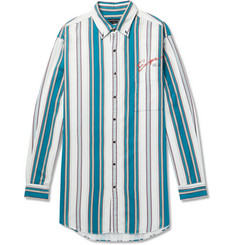 Balenciaga Oversized Button-Down Collar Striped Cotton-Twill Shirt