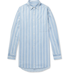 Balenciaga Oversized Button-Down Collar Striped Denim Shirt