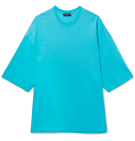 Oversized Printed Cotton-jersey T-shirt - Blue