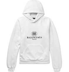 Balenciaga Printed Fleece-Back Cotton-Blend Jersey Hoodie