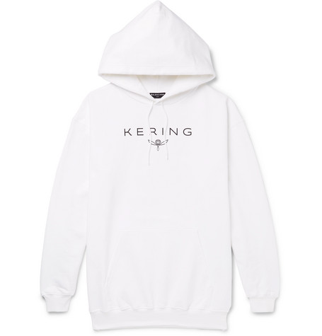 Kering Oversized Printed Loopback Cotton Jersey Hoodie by Balenciaga