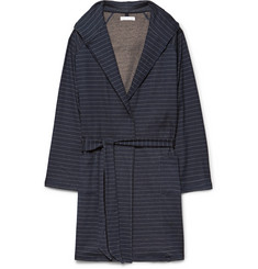 Hamilton And Hare Striped Cotton Cashmere Blend Hooded Robe