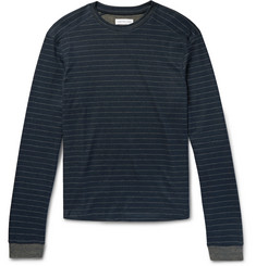 Hamilton and Hare Striped Cotton and Cashmere-Blend Pyjama Top
