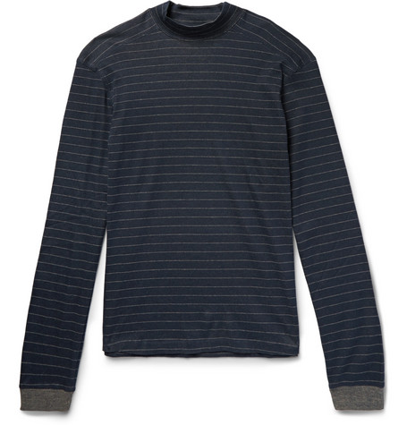 Hamilton and Hare Striped Cotton And Cashmere-blend Pyjama Trousers - Storm blue xZsqIX