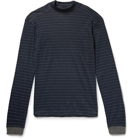 39da29b15cc9 Hamilton and HareStriped Cotton and Cashmere-Blend Mock-Neck Pyjama Top