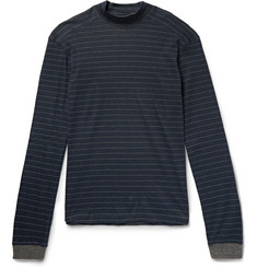 Hamilton and Hare Striped Cotton and Cashmere-Blend Mock-Neck Pyjama Top