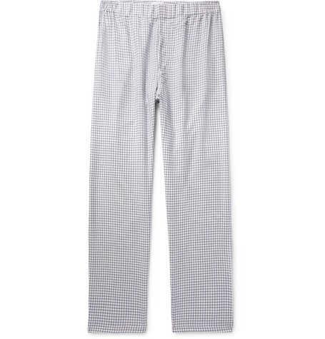 ef2fb10a5934 Hamilton And Hare Checked Cotton And Cashmere-Blend Pyjama Trousers In Blue