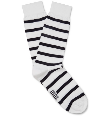 Striped Stretch Cotton-blend Socks - White