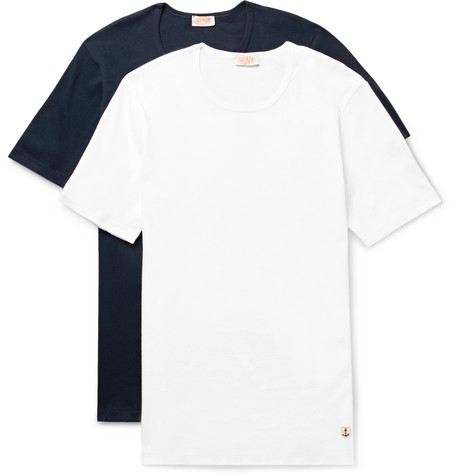 Armor-lux Two-pack Cotton-jersey T-shirts In White