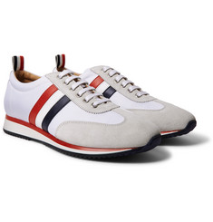 Thom Browne - Striped Suede and Leather-Trimmed Canvas Sneakers