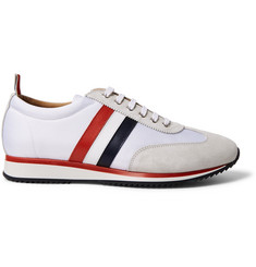 Thom Browne Striped Suede and Leather-Trimmed Canvas Sneakers