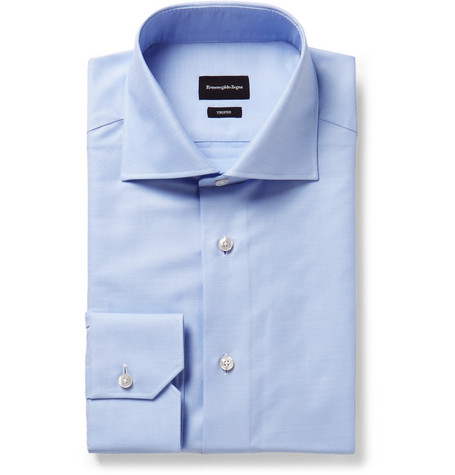 Light-blue Trofeo Slim-fit Cutaway-collar Cotton-poplin Shirt - Light blue