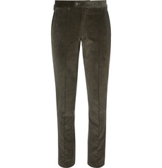 P. Johnson Green Cotton-Corduroy Suit Trousers