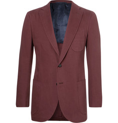 P. Johnson Burgundy Brushed Cotton-Twill Suit Jacket