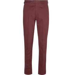 P. Johnson Burgundy Brushed Cotton-Twill Suit Trousers
