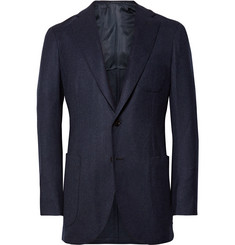 P. Johnson Navy Slim-Fit Wool-Flannel Suit Jacket