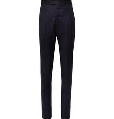 P. Johnson Navy Slim-Fit Wool-Flannel Suit Trousers
