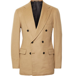 P. Johnson Sand Slim-Fit Double-Breasted Baby Camel Blazer