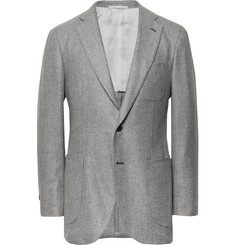 P. Johnson Grey Slim-Fit Cashmere-Twill Blazer