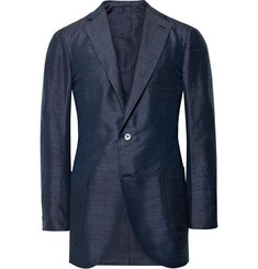 P. Johnson Navy Slim-Fit Silk-Shantung Blazer