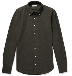 P. Johnson Button-Down Collar Mélange Cotton-Flannel Shirt