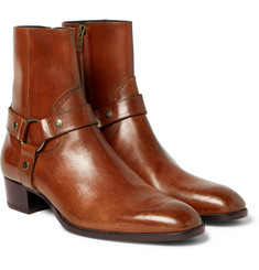 Saint Laurent Wyatt Burnished-Leather Harness Boots
