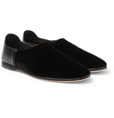 Saint Laurent Collapsible-Heel Velvet and Leather Loafers