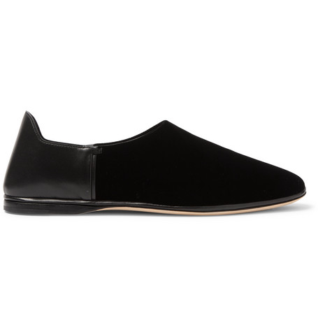 Collapsible-heel Velvet And Leather Loafers - BlackSaint Laurent