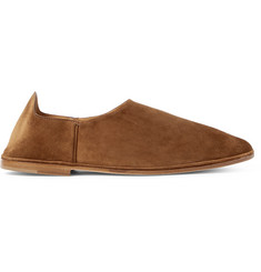 Saint Laurent Fes Collapsible-Heel Suede Loafers