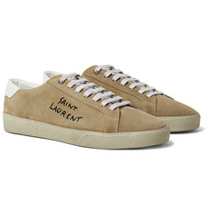 Saint Laurent SL/06 Court Classic Leather-Trimmed Embroidered Suede Sneakers