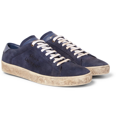 Saint Laurent Navy Suede Court Classic SL/06 Sneakers CKC7guKps
