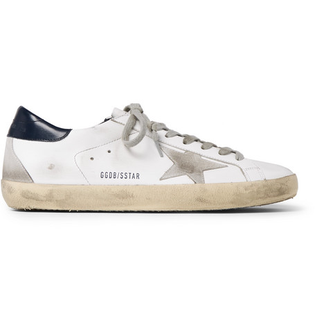 Golden Goose - Superstar Distressed Leather and Suede Sneakers f33ad6e87be