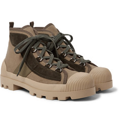 Acne Studios Daniel Suede and Grosgrain-Trimmed Canvas Boots