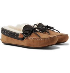 Quoddy - Fireside Leather-Trimmed Shearling-Lined Suede Slippers