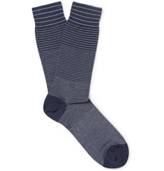 Ermenegildo Zegna Striped Mercerised Stretch Cotton-Blend Socks